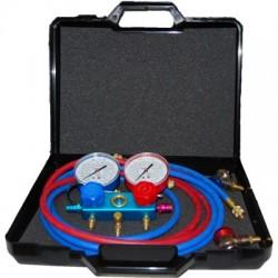 Zestaw manometrów + przewody + szybkozłączki w walizce