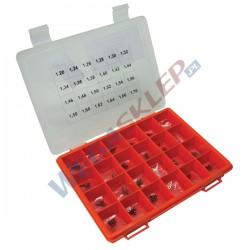Zestaw podkładek BOSCH średnica: 4,50 mm, Otwór: 2,50 mm, Grubość: 1,20   1,70 mm. (24 rozmiary), Tolerancja: co 0.02 mm