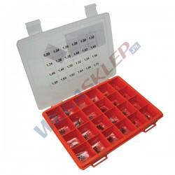 Zestaw podkładek BOSCH średnica: 4,50 mm, Otwór: 2,50 mm, Grubość: 1,20   1,70 mm (24 rozmiary), Tolerancja: co 0.02 mm,