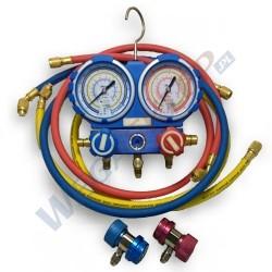 Zestaw manometrów z przewodami i szybkozłączkami w walizce