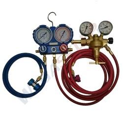 Zestaw do sprawdzania szczelności klimatyzacji za pomocą azotu z listwą manometrową i reduktorem 4,00 m
